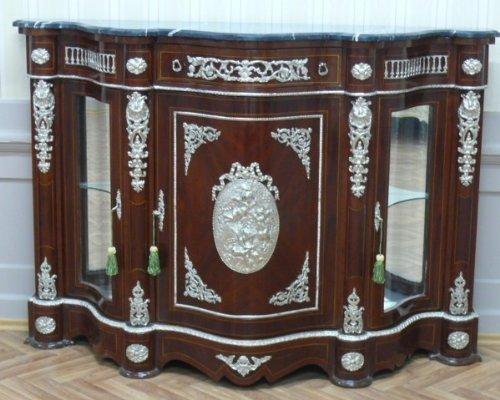LouisXV Barock Anrichte Antik Stil Kommode Rokoko Silber mit Marmorplatten MoMo0300 antik Stil...