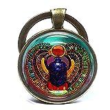 Ankh Egipto Encanto keycahin Egipto Scarab encanto joyas de Escarabajo Charm llavero, inicial con sello personalizado joyería de bronce antiguo