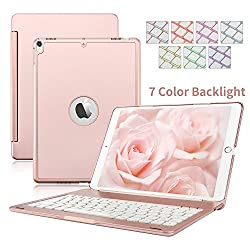 Ipad Pro 10.5 Keyboard Case, Dingrich Aluminum 7 Color Backlight Wireless Bluetooth Keyboard Smart Cover Case With Folio Flip Stand For Apple Ipad Pro 10.5 Inch
