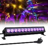 UV Beleuchtung, GLIME Schwarzlicht UV LED Lichteffekt 36W 12 LEDs UV Bar AC100-240V Bühnenbeleuchtung mit EU-Stecker für Club Party Karneval Disco Ballsaal Bühne Halloween