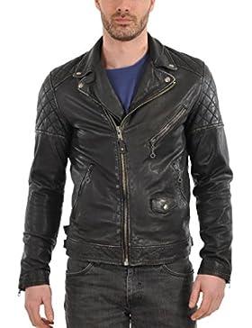 Leather4u Chaqueta de cuero para hombre, piel de vaca, Negro KL335