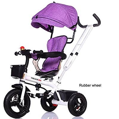 JYY Tricycle for kids age 1 2 3 4, Trike Buggy Stroller with Reversible Seat,B1-105 * 56 * 45cm