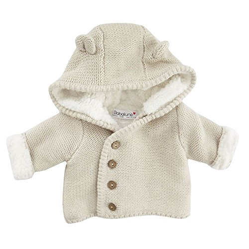 NEU | Strickjacke Cardigan mit Kapuze beige gefüttert weiß | 50 56 62 68 Newborn (50/56) (Pullover Strickjacke Beige)