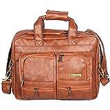 Handcuffs 16 Inch Laptop Bag Vegan Leather Office Laptop Briefcase Handbag for Men Women (Rust)