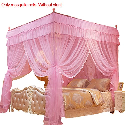 Samber 1,5* 2m 4Poster Pink Betthimmel Prinzessin Queen Mosquito Betten Net Bett Zelt Vier Ecken Bodenlang Vorhang rose