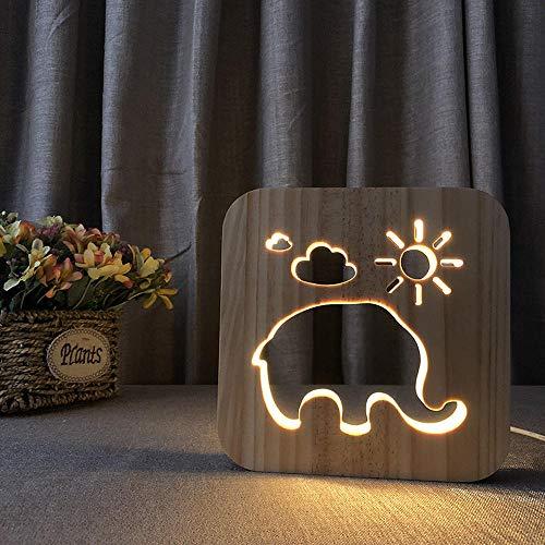 Elefant - Lámpara de noche 3D con ledes, madera, ilusión 3D, para...
