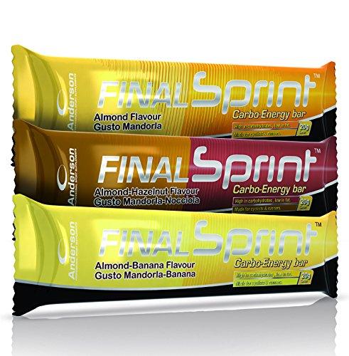 35 barrette energetiche anderson final sprint da 40g con maltodestrine e proteine della soia confezione risparmio