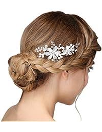 Peineta con diseño de perlas y flores, hecha a mano, para bodas, color plateado y crema