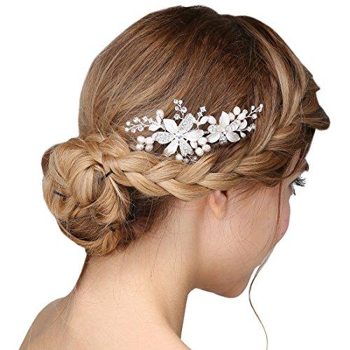 Damen Kristall Strass Perlen Haarekämmen Blume Haarschmuck Hochzeit Blume-haar-kamm-hochzeit