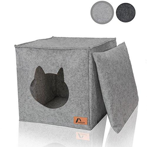 Amazy Filz Katzenhöhle inkl. Kissen + Spielzeug (Ideal für Ikea Kallax und Expedit) – Faltbare Kuschelhöhle für Katzen Zum Schlafen, Verstecken, Toben und Kratzen (Hellgrau)