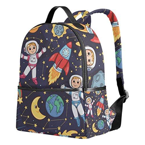 Ahomy Rucksack für Mädchen, Astronaut Sonne Mond Rucksack Schulbuch Taschen Casual Daypacks für Reisen und Sport