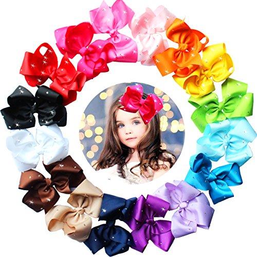 16 Stück 15cm Solide Haarschleife mit Krokodilklemmen mit glitzernden Strasssteinen für Mädchen, Kleinkinder,Kinder (Mädchen Kleid Glitzernden)