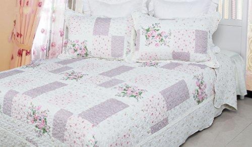 Pfingstrose Rose–Luxus Baumwolle gefüllt Flickenteppich Super King Set (King-size-bett Gerahmt)