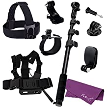 SalesLa® 9 in 1 of Accessories Kit Set with Strong Steady Etendable handheld Monopod Telescope Pole+Adjustable Chesty/ Chest Mount Harness + Elastic Adjustable Head Strap Mount + Wrist Strap Mount + J Hood Mount + Tripod Mount Adapter + Quick Clip Mount + Sales La Screen Cleaner for Action Camera GoPro Update HD Hero 4 3+ 3 2 1 Black White Edition