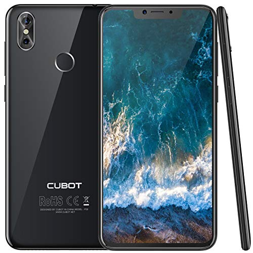 Cubot P20 (2018) Android 8.0 4G-LTE Dual SIM Smartphone ohne Vertrag Ultra dünn 6.18″(19:9) In-Cell Screen FHD Display (2246×1080px) mit 4000 mAh Akku, 4GB Ram+64GB interner Speicher, Schwarz - Für 6 Iphone Ultra-sim-karte