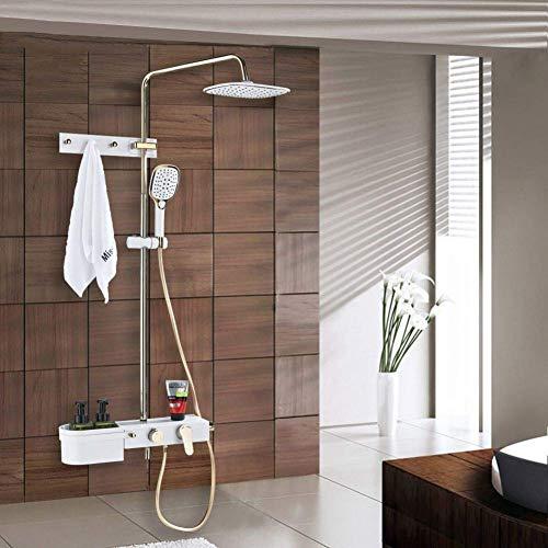 ZYL-YL Weißgold Dusche Abgriffsatz, regen Duschkopf for Wand mit Dusche Schalter und Handbrause, Brausegarnitur mit Wanneneinlauf Montage