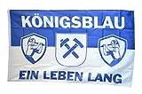 Fahne / Flagge Gelsenkirchen - Königsblau ein Leben lang + gratis Sticker, Flaggenfritze®