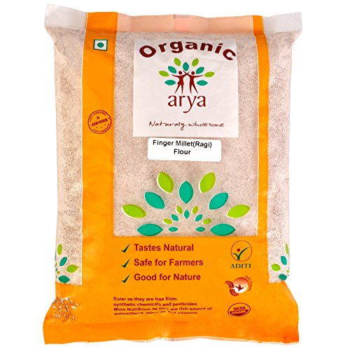 Arya Farm Certified Organic Without Chemicals Pesticides Grown Finger Millet Flour (Ragi), 2kgs Nachni Atta