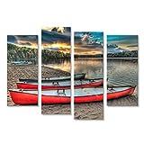islandburner Bild auf Leinwand In Northern Ontario Kanada eingelassen, sind Diese DREI bunten Kanus friedlich warten, wie die Sonne durch die Wolken in der Ferne steigt Wandbild, Poster
