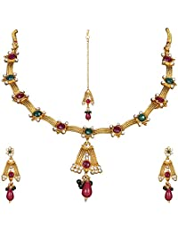 DS Gold Plated Bollywood Style Traditional Necklace Set With Earrings For Women And Girls
