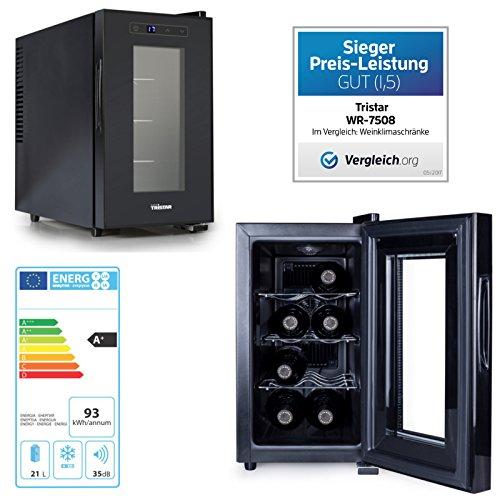 Thermoelektrischer Weinkühlschrank 21Liter für 8Flaschen mit Touch-Screen Bedienfeld schwarz