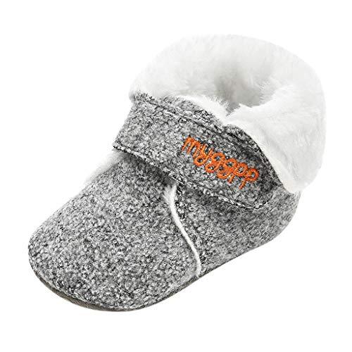 WEXCV Unisex Baby Jungen Mädchen Schuhe Winter Warm Einfarbig Plüsch Kleinkindschuhe Booties Schneeschuhe Niedlich Freizeit Schuhe Lauflernschuhe für 0-15 Monate - Schaffell Baby Booties