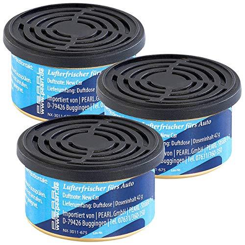 PEARL Autoduft-Lufterfrischer: 3er-Pack Duftdose fürs Auto, Duftnote Neuwagen, 60 Tage (Auto Parfum)