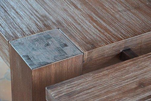 MK fix-001set2 Essgruppe Tecky Esstisch 3 Holzstühle und 1 Bank, 200 x 100 cm
