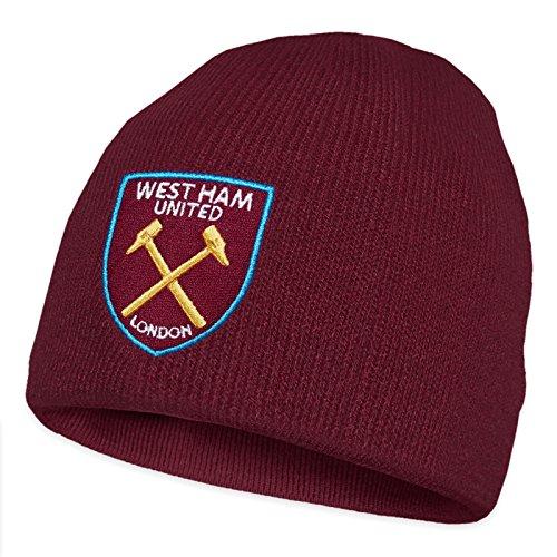 West Ham United FC - Beanie Strickmütze - Offizielles Merchandise - Bordeauxrot Beanie - Einheitsgröße (Erwachsene/Jugendliche)