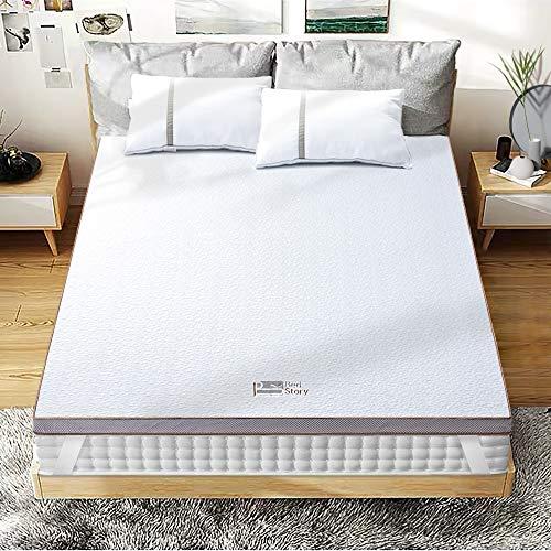 BedStory [Nouvelle Technologie] Surmatelas 140 x 190 Epaise à Mémoire de Forme de 7.5cm, Surmatelas de Haute Densité avec Gel Plus Respirant, Housse Amoivible et Lavable