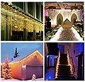 Salcar 5m LED Lichtervorhang Eisregen + 3m Netzkabel, dekorative LED Lichterkette mit 200 spritzwassergeschützten LEDs, 31V Sicherheitsnetzteil, 8 Betriebsmodi mit Memory-Funktion - Warmweiß von Salcar bei Lampenhans.de