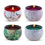 Regalo de velas aromaticas - lavanda, rosa, árbol de té y hierbabuena, la cera de la soja del 100% de KitchenGynti para aliviar el estrés y aromaterapia, candela del regalo de Navidad - Paquete de 4