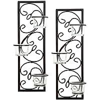 "Hosley's Set de dos apliques de tealight de hierro negro de 13.75 ""de Hosley, hecho a mano por artesanos, regalo ideal para bodas, fiestas, LED, jardín de velas votivas, spa, Reiki O3"