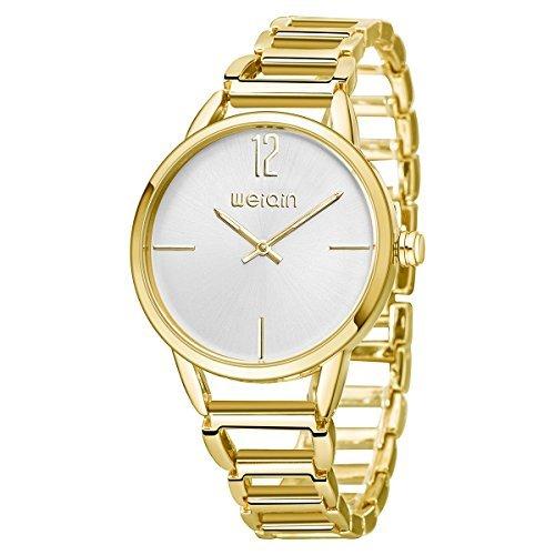 astarspor Einzigartige Fashion Damen Classic Casual Business Kleid Runway Quarz Handgelenk Uhren mit Goldfarbene Edelstahl rund Armband Armreif Kristall Zifferblatt Uhren für Frauen