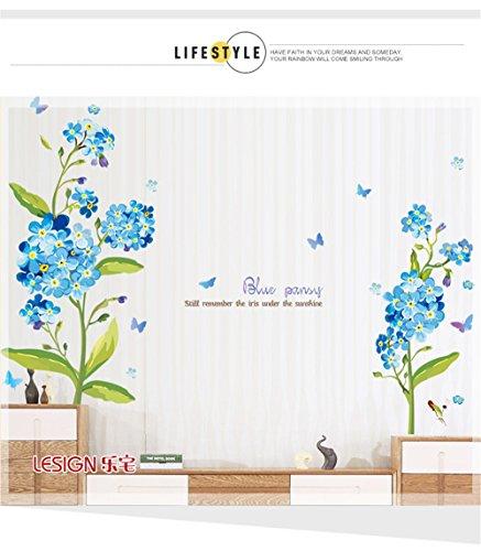 LangToo Das Sofa im Wohnzimmer TV Hintergrund selbstklebende Wandaufkleber romantische Ehe Zimmer Schlafzimmer Bett wand Dekoration Blumen Poster (Poster-betten, Möbel)