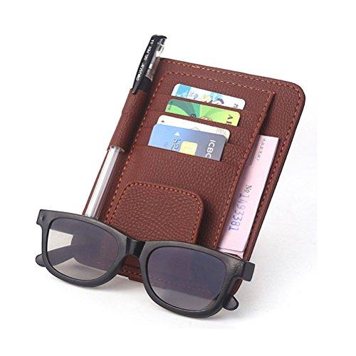 Cuoio Car Sun Visor Occhiali cartella documenti di clip titolare della carta sacchetto di immagazzinaggio multifunzionale clip