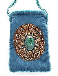 Bolsa de terciopelo de seda para teléfono iPhone o gafas, diseño de plumas-bolas de cristal y porcelana