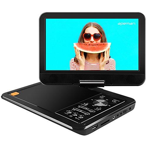 APEMAN 10,5'' Tragbarer DVD-Player mit 5 Stunden Akku Drehbarem Display Unterstützt SD-Karte USB AV Out/IN Spiele-Joystick