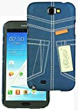 Heartly Jeans Style Printed Design High Quality Hard Bumper Back Case Cover For Samsung Galaxy Note 2 II N7100 - Blue Pocket