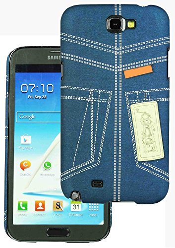 Heartly Jeans Style Printed Design High Quality Hard Bumper Back Case Cover For Samsung Galaxy Note 2 II N7100 - Blue Pocket  available at amazon for Rs.149