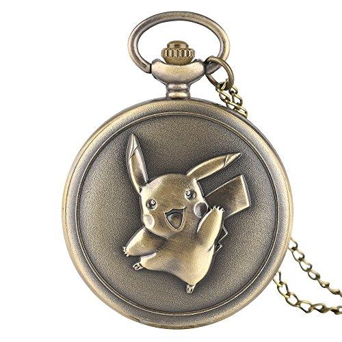 Retro Reloj de Bolsillo para Hombre, Kawaii Pikachu Reloj de Bolsillo Japón Anime Pokémon Tema de Dibujos Animados Reloj Lindo Regalos
