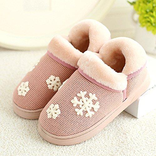 DogHaccd pantofole,Piscina inverno paio di pantofole di cotone uomini e donne pacchetto completo con il caldo soggiorno in peluche spesse pantofole inverno scarpe di cotone Rosa1