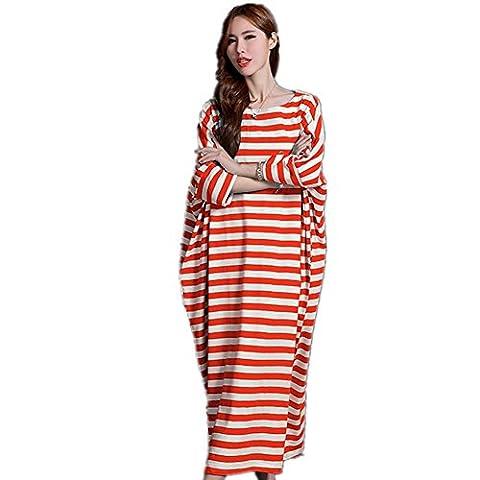 DMMSS Mesdames Quatre Saisons Peuvent Porter Pyjama Manches Longues En Vrac Grande Taille Jupe Jupe Rayé Coton Service À Domicile Robe , 2 , M