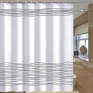 NATUCE Cortina de Ducha, 100% Poliéster Impermeable Resistente al Moho con Ganchos para el Hogar y el Hotel 180 x 180 cm