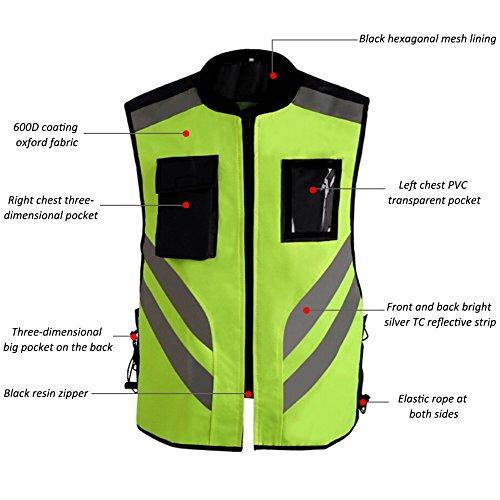 Reflektierende Sichtbarkeit Warnweste,Sicherheitweste Reißverschluss für Auto, KFZ, Fahrrad, Motorrad,XL