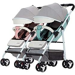 Twin stroller zxmpfg Cochecitos Dobles recién Nacidos Plegables de Lado a Lado Disponibles para Viajar. Rueda Delantera para Sentarse o acostarse Flexible. Girar 360 ° Cuatro Temporadas Disponibles