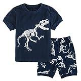 Mombebe Schlafanzug Jungen kurz Dinosaurier Pyjamas Set Sommer Nachtwäsche (Dinosaurier 3, 5 Jahre)