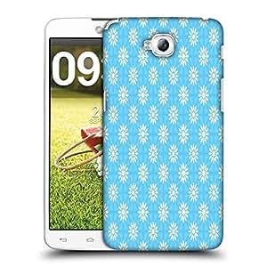 Snoogg White Floral Blue Pattern Designer Protective Phone Back Case Cover For LG G Pro Lite