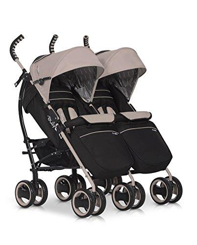 Kinderwagen Duo Comfort LATTE für Geschwister / Zwillinge - Spazierwagen - Buggy aus Aluminium - neues Modell 2016
