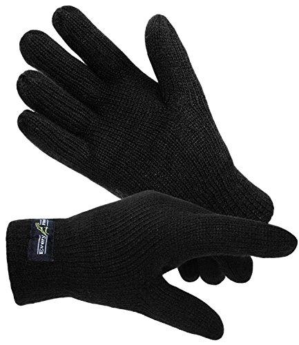 EveryHead Herrenhandschuhe Thinsulate Fingerhandschuhe Strickhandschuhe Winterhandschuhe isoliert Fleecefutter für Männer (EH-57757-W17-HE0-18-XL) in Schwarz, Größe XL inkl Hutfibel